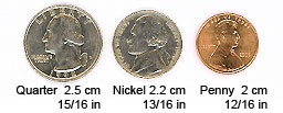 Compare medal size with familiar coins
