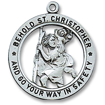 st christopher patron saint medal 19290. Black Bedroom Furniture Sets. Home Design Ideas