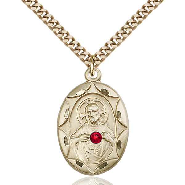 Gold Scapular Necklace: Ruby Bead- Gold Filled #88396
