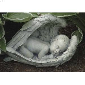Sleeping Baby Angel Wings Outdoor Statue 11470