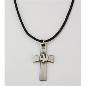 Holy Spirit Cross with Dove in Pewter