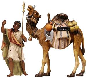 Driver and Camel With Luggage - Hand Carved - Pema
