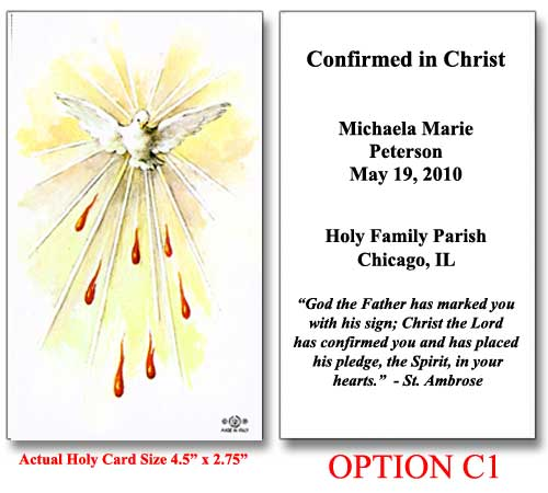 Confirmation Catholic Cards Confirmation Holy Cards For