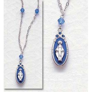 Miraculous Medal in Silver with Saphire
