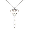 August Birthstone Double Heart Key