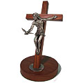 Walnut 8 Inch Crucifix with Gift of the Spirit Corpus