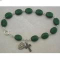 Bracelet Sterling with Green Oval Shamrock Beads