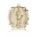 St. Florian Medal - 14 KT Gold - Medium, Engravable  (#81579)