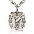 St. Florian Medal - Sterling Silver - Medium, Engravable  (#19058)