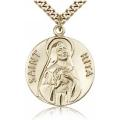 St. Rita of Cascia Medal - Gold Filled - Large, Engravable  (#81658)