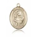 St. Clare of Assisi Medal - 14 KT Gold - Large, Engravable  (#81988)