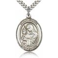 St. Clare of Assisi Medal - Sterling Silver - Large, Engravable  (#81989)