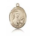St. Therese of Lisieux Medal - 14 KT Gold - Large, Engravable  (#82470)