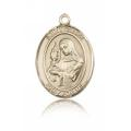 St. Clare of Assisi Medal - 14 KT Gold - Medium, Engravable  (#83354)