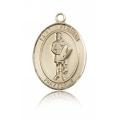 St. Florian Medal - 14 KT Gold - Medium, Engravable  (#83372)