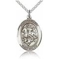 St. George Medal - Sterling Silver - Medium, Engravable  (#83391)