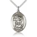 St. Michael the Archangel Medal - Sterling Silver - Medium, Engravable  (#19197)
