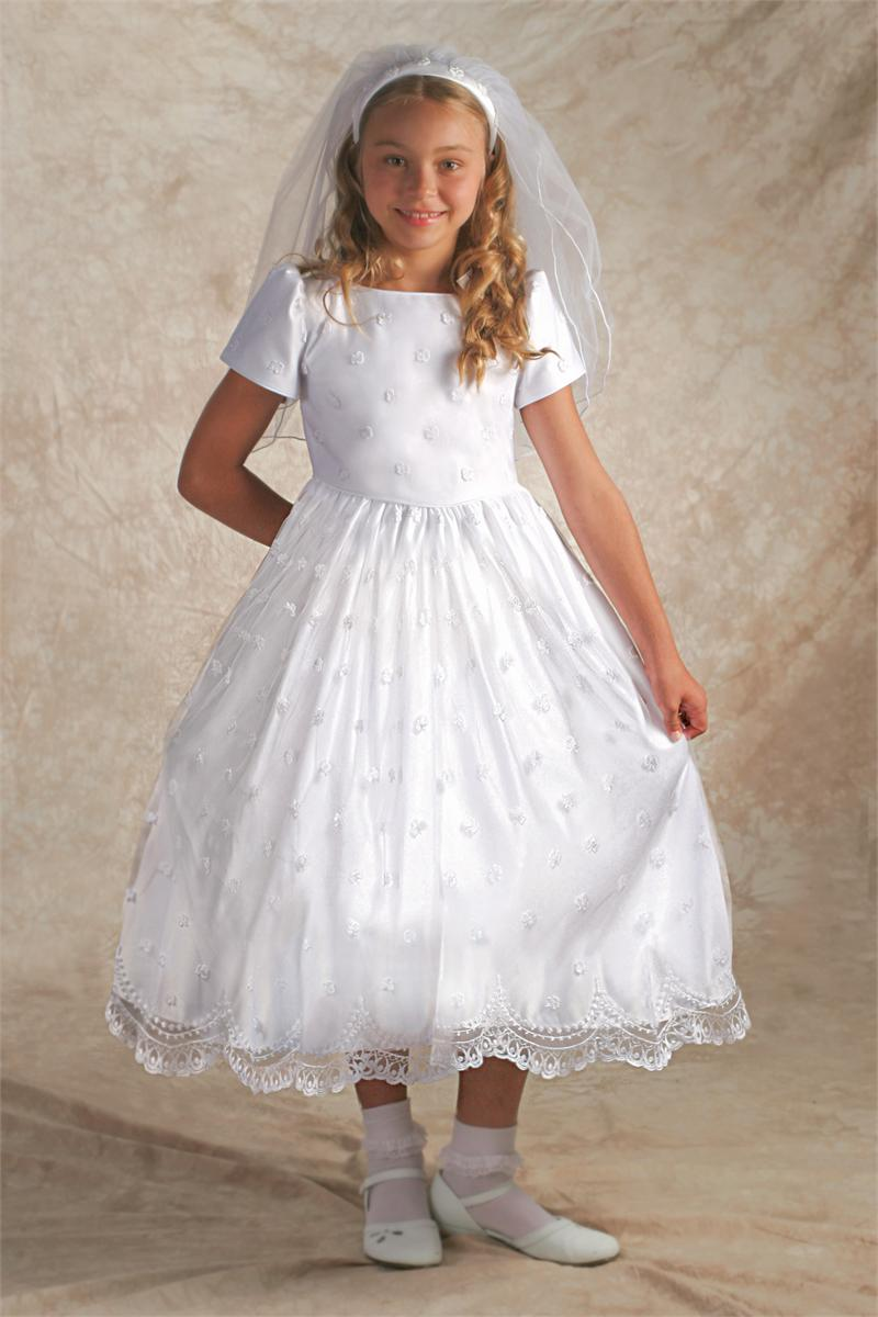 First Communion Irish Dresses ~ Irish First Communion Veils ~ Accessories Offering Irish First Communion Apparel including shamrock embroidered irish first communion dresses, shamrock or claddagh communion tiaras, shamrock first communion veils, Irish First Communion Anklets with Shamrocks, and irish celtic jewelry.
