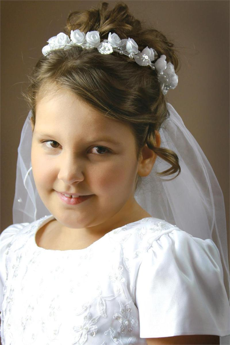 first communion beaded rose veil (#33293)