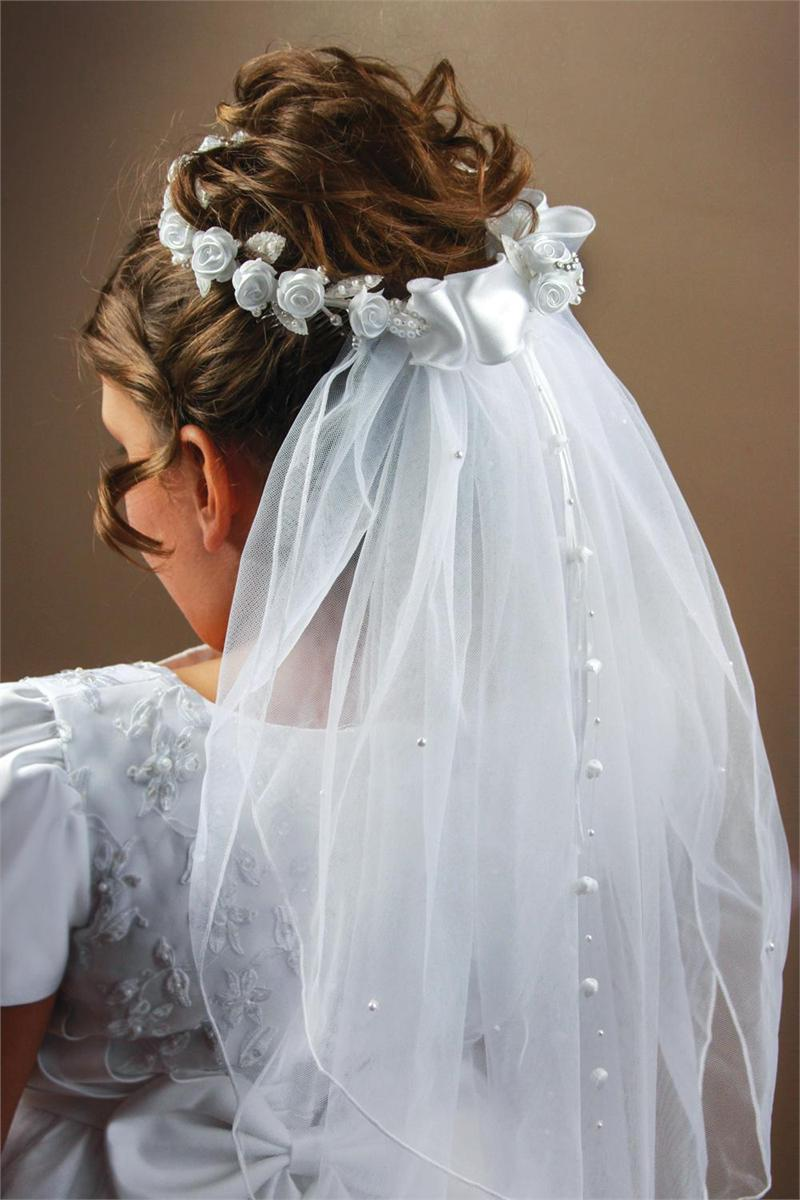 First Communion Beaded Rose Veil 33293