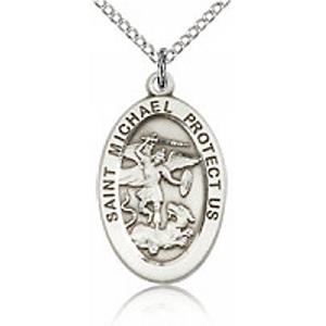 St. Michael the Archangel Medal - Sterling Silver - Medium, Engravable  (#81769)