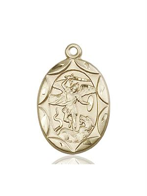St. Michael the Archangel Medal - 14 KT Gold - Large, Engravable  (#83080)