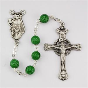 St Patrick Rosary with 7mm Locklinked Green Glass Beads with Pewter