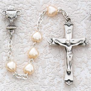 First Communion Pearl Heart Rosary