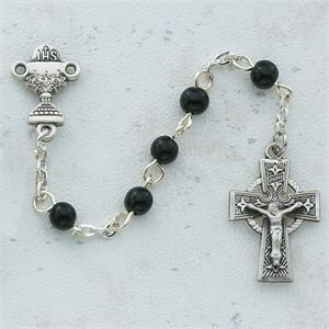 Black Celtic Communion Rosary - Sterling Silver