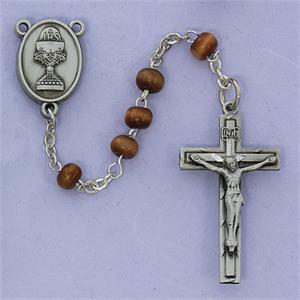 Brown Wood Communion Rosary - Pewter