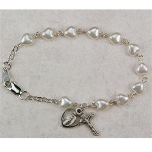 Pearl Heart Bracelet with Miraculous Medal and Crucifix Charms