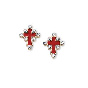 Cross Earrings in Red Enamel with Crystals