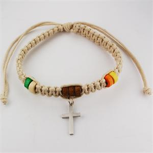 Cream Corded Bracelet with Cross and Beads