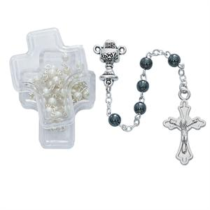 Hematite Rosary in Cross Box - Qty 6 or More