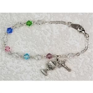 First Communion Bracelet with Multicolored Beads