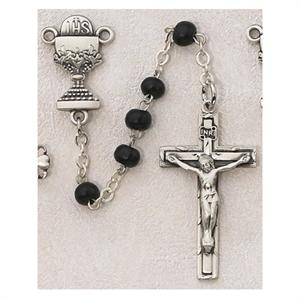 Black 1st Communion Rosary - Sterling