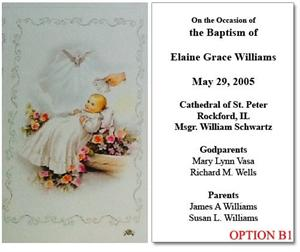 Personalized Baptism Holy Card - Cherubs