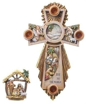 Advent Wreath Cross with Holy Family
