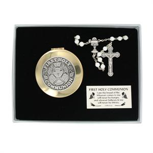 Girl's First Communion Rosary and Keepsake Box Gift Set