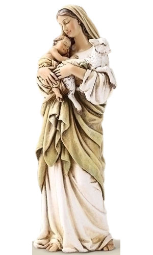 Madonna and Child with Lamb Statue - 6 inch