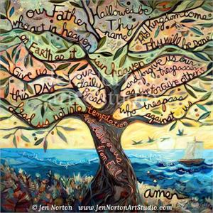 Lords Prayer in the branches of an olive tree