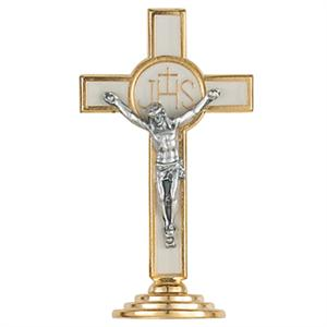White Standing Crucifix or Cake Topper 3.5in