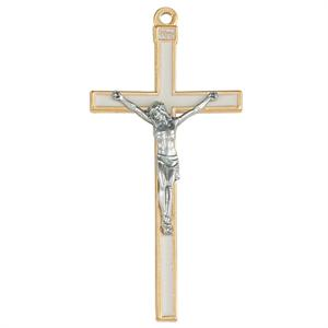 Gold Edged Crucifix with White Enamel 5 inch