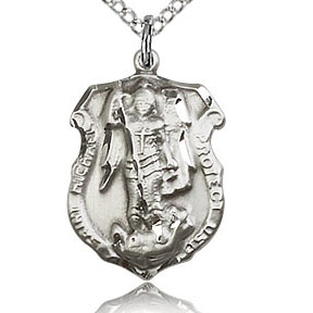 St. Michael the Archangel Medal - Sterling Silver - Medium, Engravable