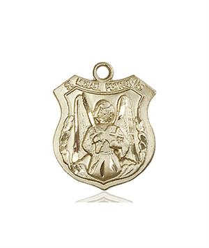 St. Michael the Archangel Medal - 14 KT Gold - Medium, Engravable  (#83236)