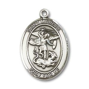 St. Michael Medal - Sterling Silver with 24 in. Chain - Engravable