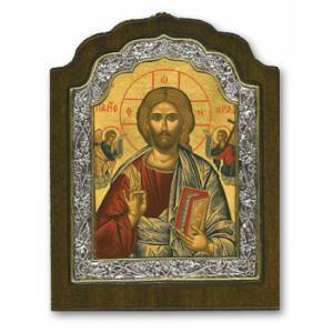 Silver framed Christ Icon (large)