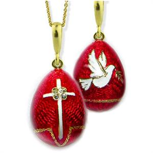 Confirmation  Red Jeweled Egg With Dove