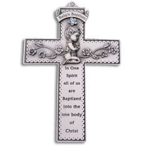 Pewter Baby Baptism Cross - Boy