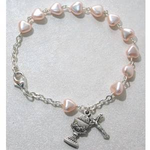 First Communion Rosary Bracelet Pink Heart